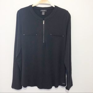 Tahari long sleeves Black Blouse - Size Large